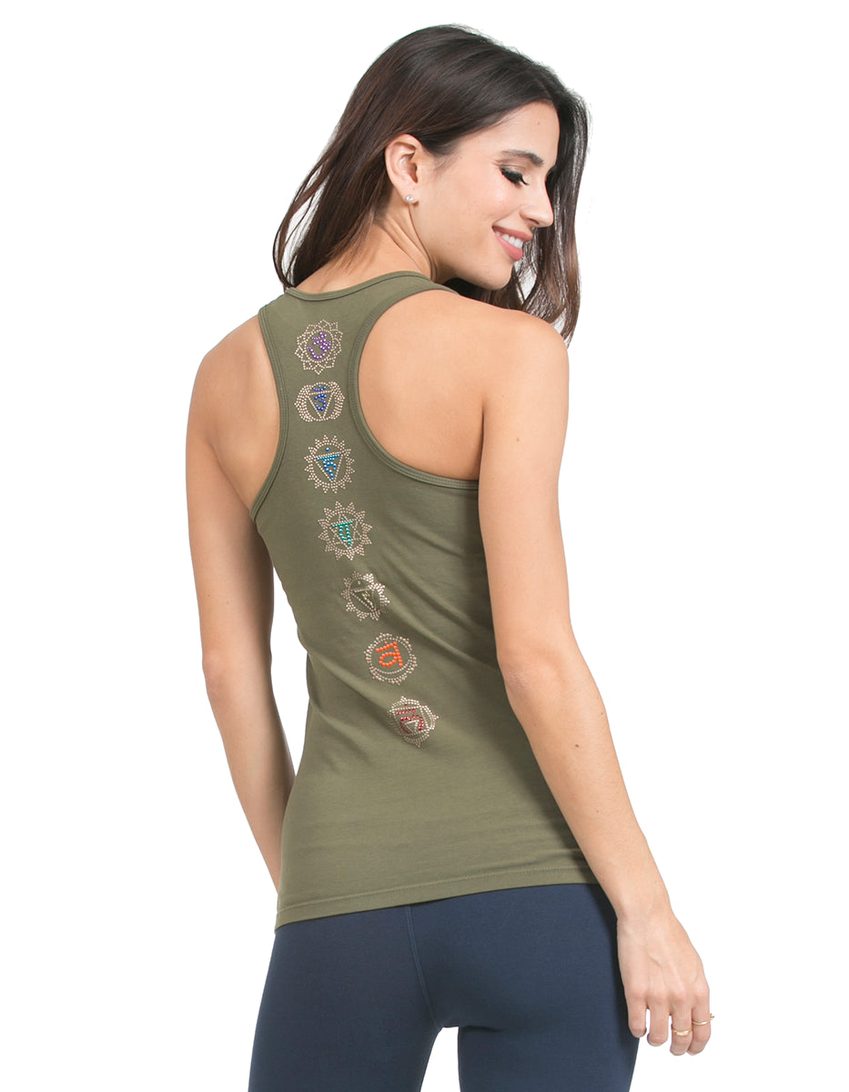 organic cotton scoop neck racerback yoga top moss new-earth