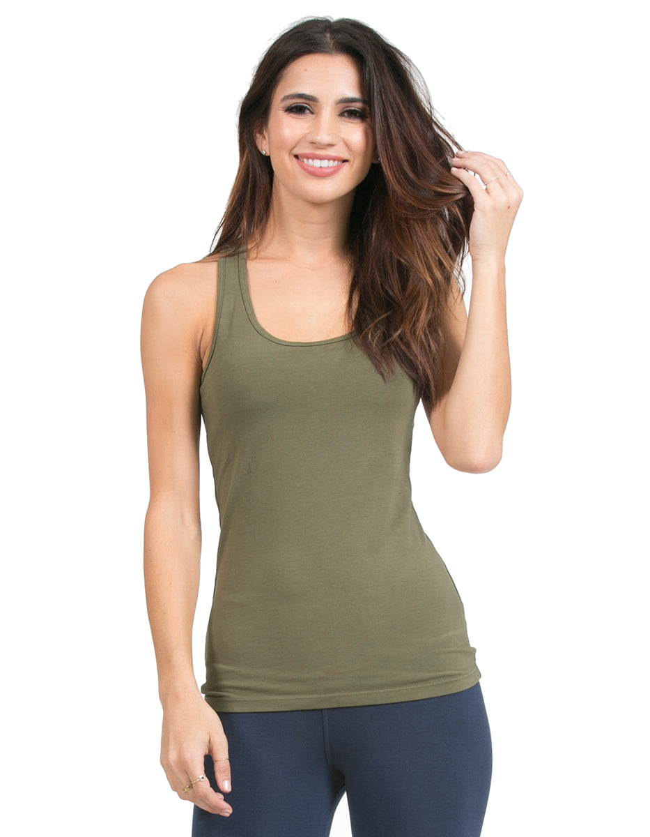 organic cotton scoop neck racerback yoga top moss new-earth-2