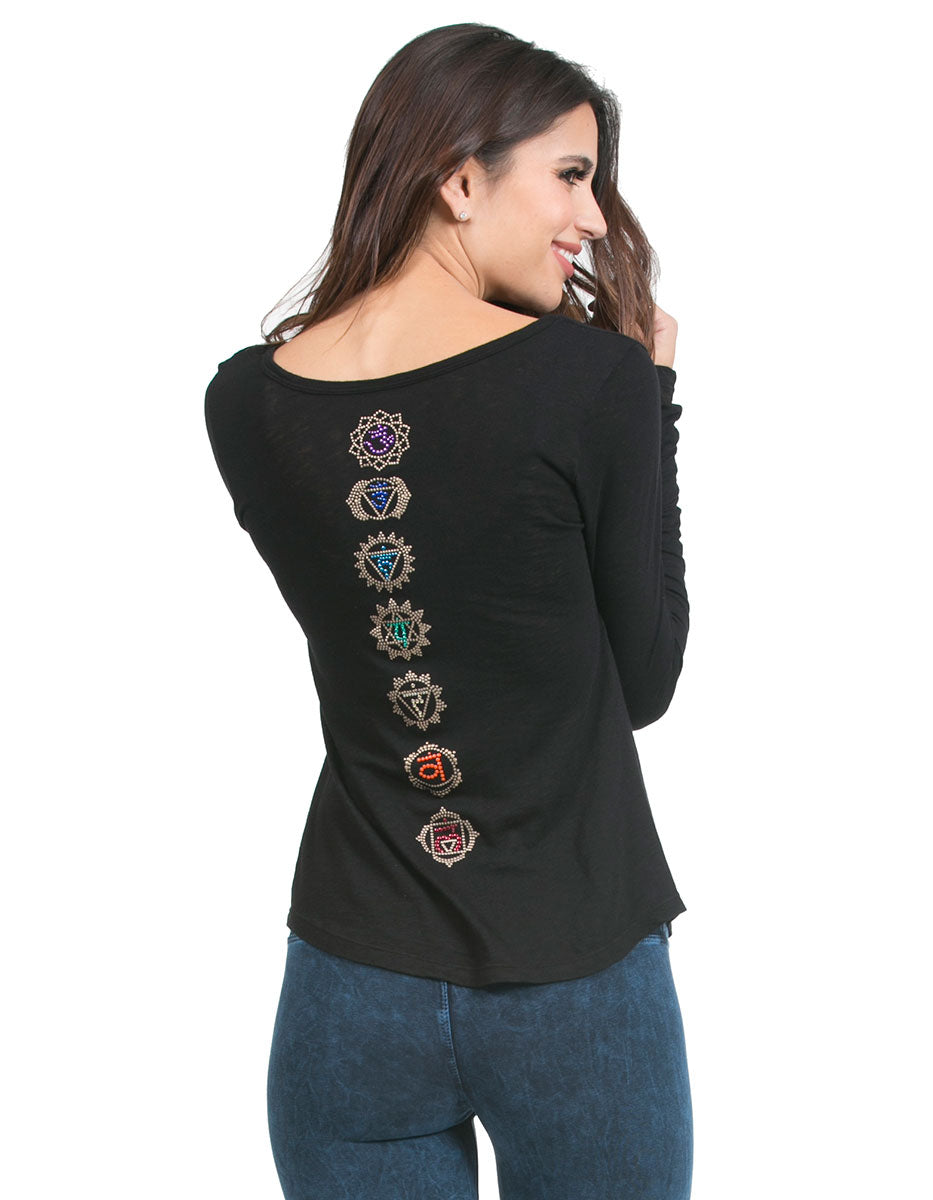 organic eco slub chakra vneck top black signature-prints