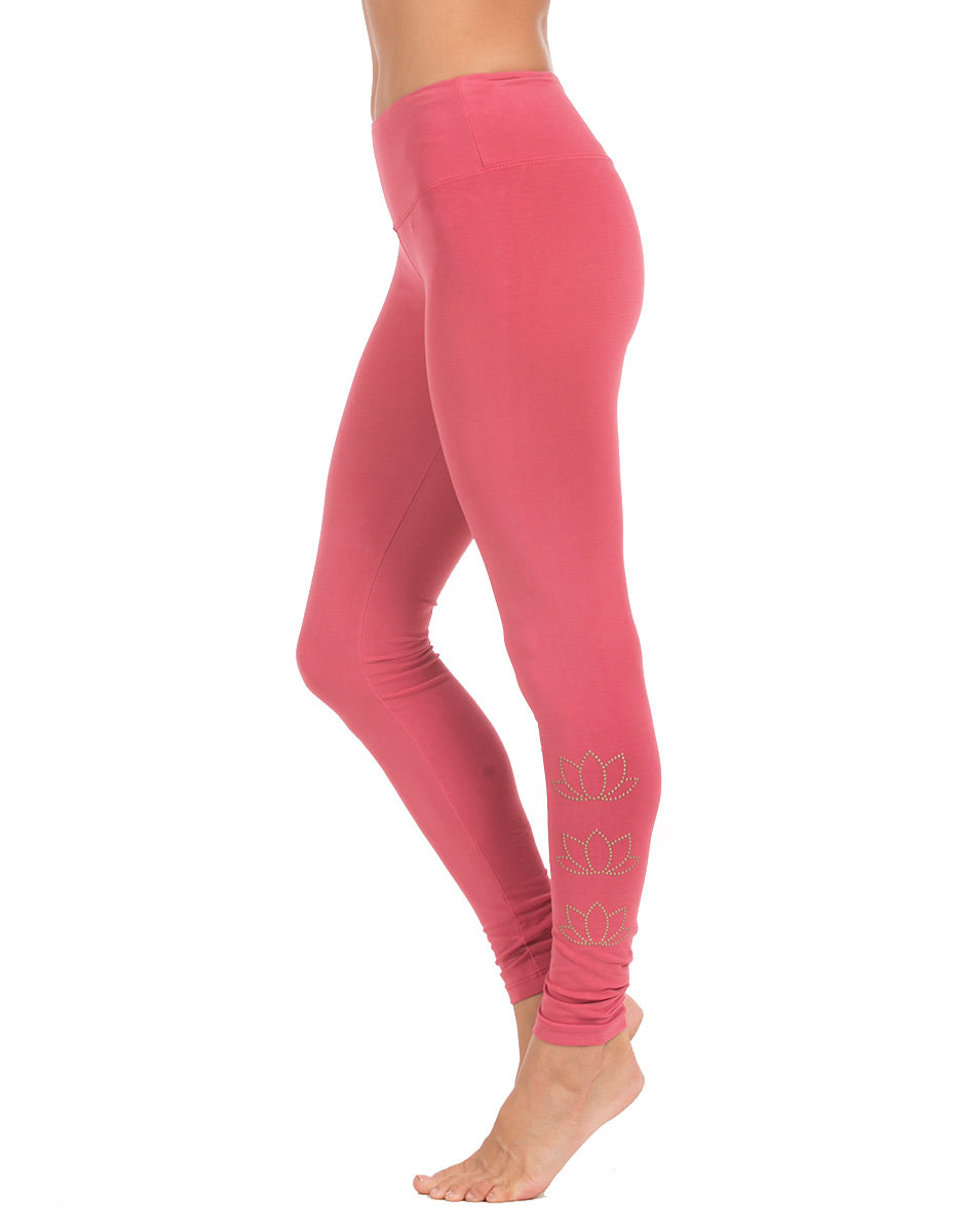 organic cotton yoga wear long legging bloom pink blossoming-lotus-2