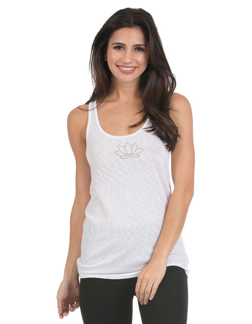 organic cotton yoga wear tank top white lotus blossoming-lotus-2