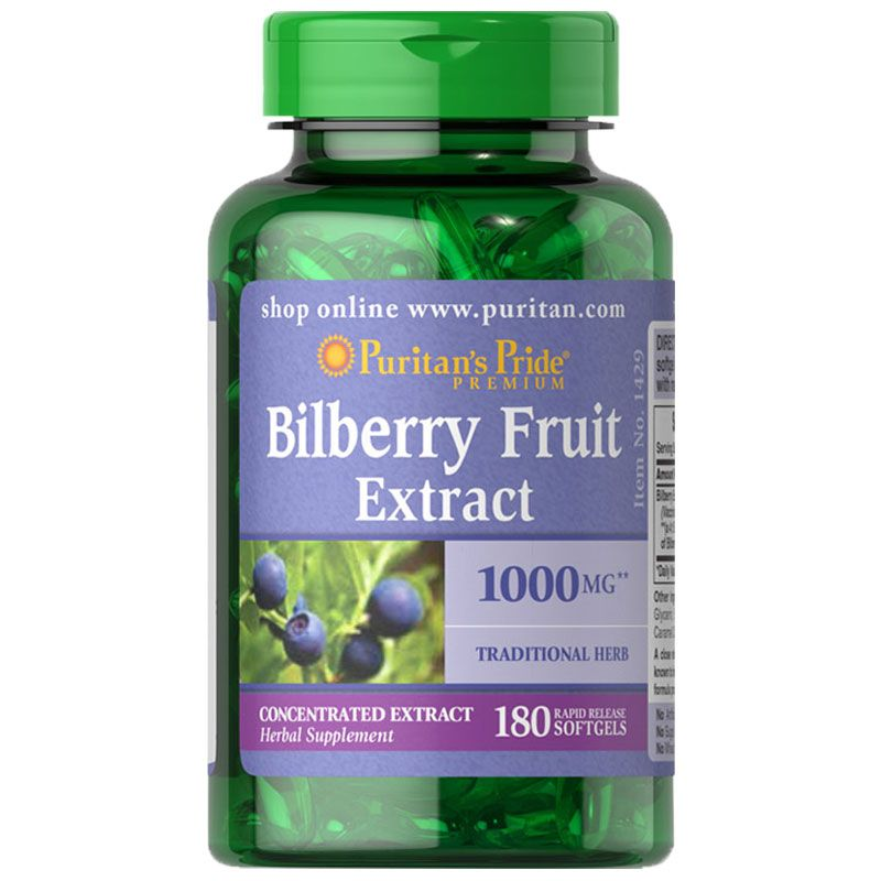 Puritan's Pride Bilberry Fruit Extract 1000mg 90 Softgels Improves Eye Health