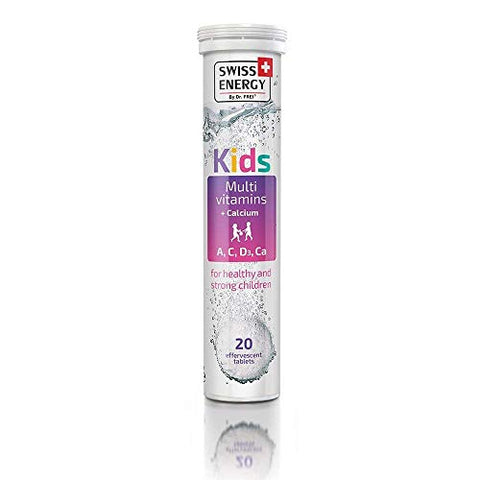 Swiss Energy Kids Multi Vitamin (A, B, E, D3) + Calcium Effervescent (20 Count)