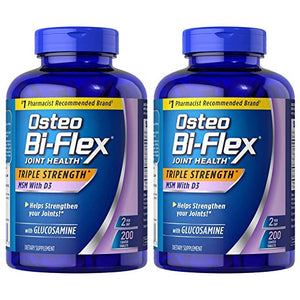 Osteo Bi-Flex Triple Strength Glucosamine MSN D3 200caps 2PACK