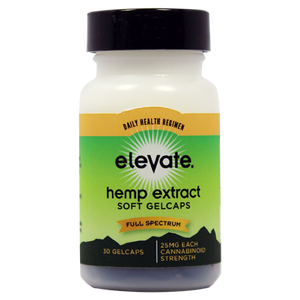 Elevate® HEMP Extract Soft Gelcaps 25mg/gelcaps, 30 gelcaps per Bottle