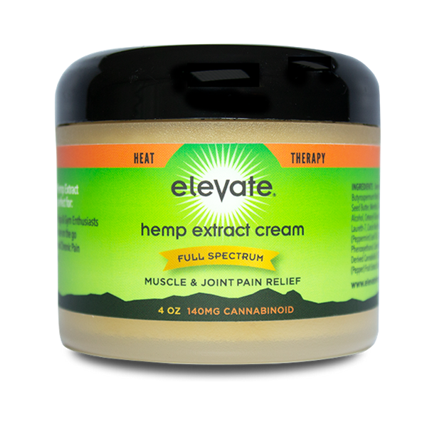 Elevate® Pain Relief Cream 4 ounce, 140mg HEMP Extract Heat Therapy