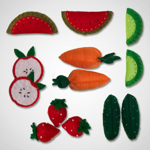 Handmade 'Garden Party' Vegetable Felt Foods