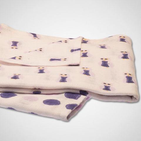Handmade Purple Owl Swaddle Set