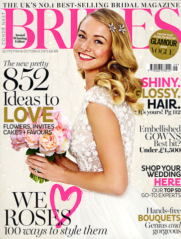 White Bridal bikini, by Diane Raulston and DR Fashion, is featured in Brides magazine—August, 2015 Cover