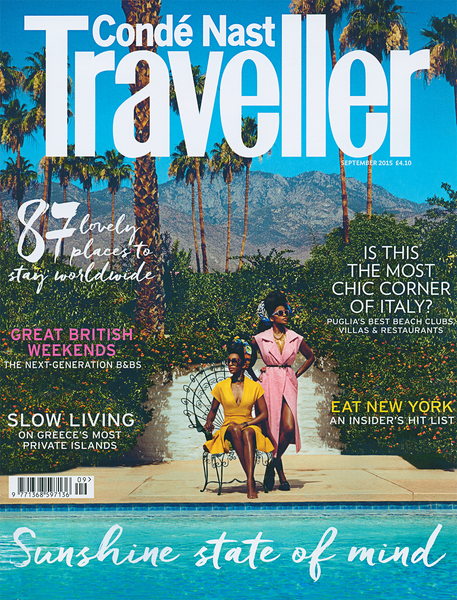 Blue and white Lolita bikini with navy blue ruffle, by Diane Raulston and DR Fashion is featured in Condé Nast Traveller—September, 2015 Cover