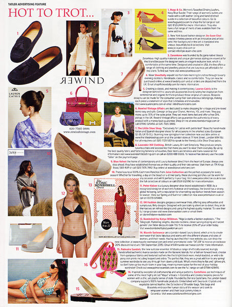 Black Sporty bikini, by Diane Raulston and DR Fashion, is featured in Tatler (UK) magazine—July, 2015 Insert