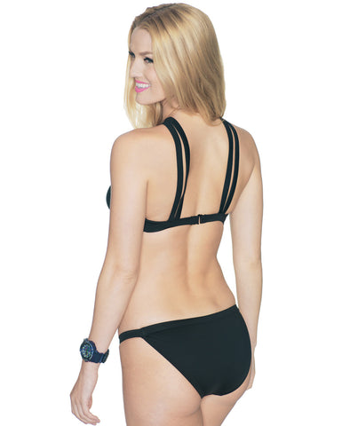Black Cross-Over Halter Top—Sporty Collection