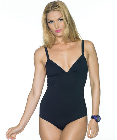 Black Sporty One-Piece Scuba Swimsuit