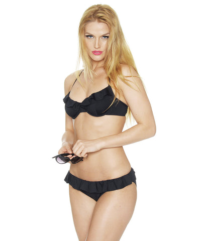 Hipster Bikini Bottoms, Black with Ruffles—Lolita Collection