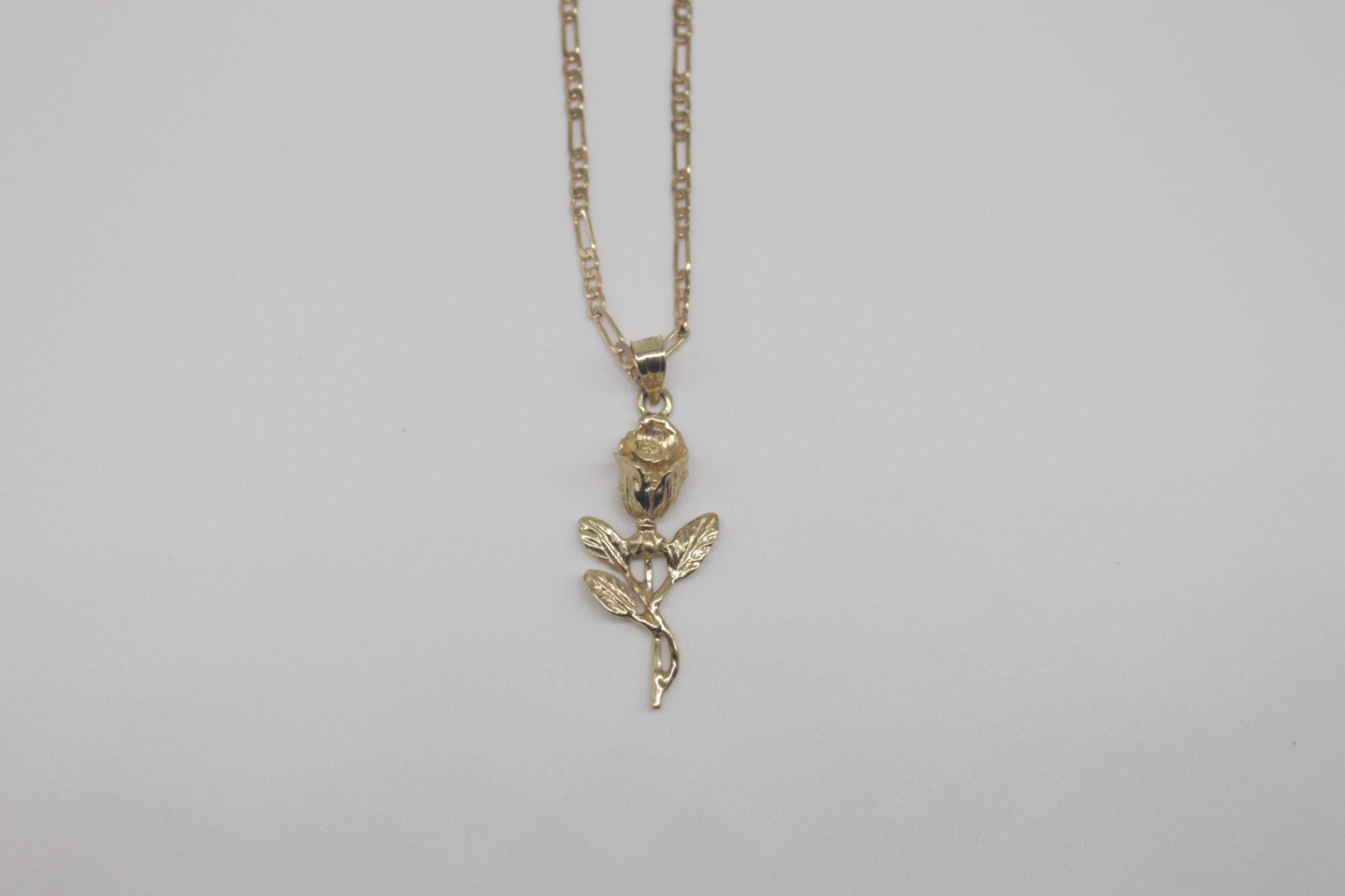 Solid Gold Rose Necklace