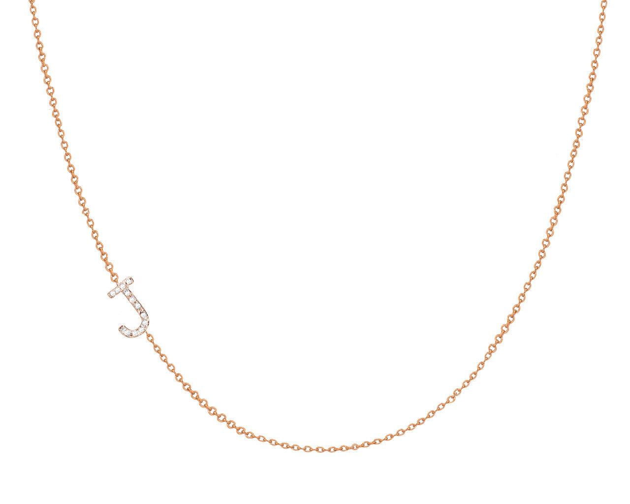 Diamond Initial Necklace - Asymmetrical