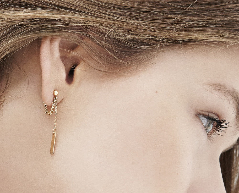 Loop And Drop Earrings - Gold
