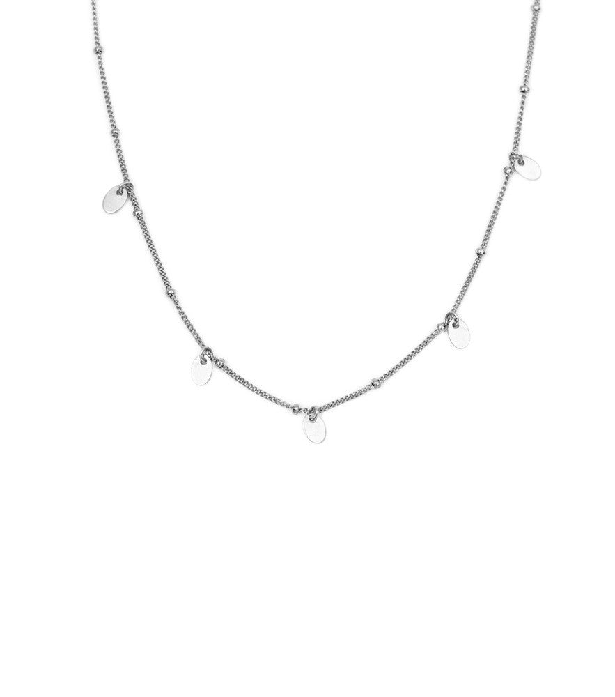 Oval Drop Necklace- Silver