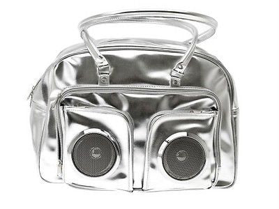 "Brand New MP3 Booster Handbag Dual 3"" Speakers Player Speaker Silver by Wanted"