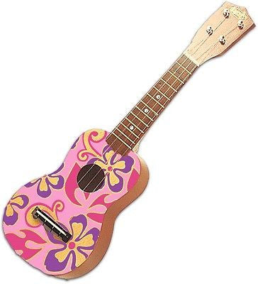 Aloha Hawaiian Toy Ukulele Pink Floral 21 Inch by KC Hawaii Luau Beach Decor