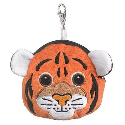 Tiger Zippered Pouch Animal Coin Purse with Backpack Clip