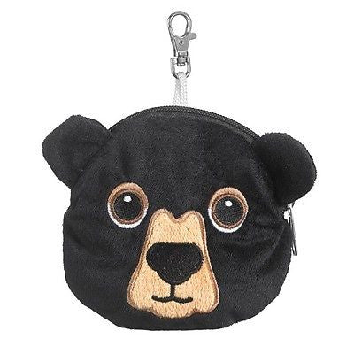 Black Bear Zipper Pouch Plush Animal Coin Purse