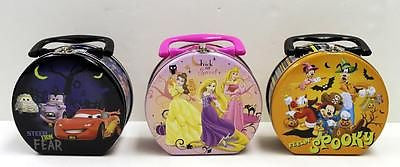 1 New Halloween Disney Hatbox Tin Tote Box Princesses Cars Mickey Assorted Boo !