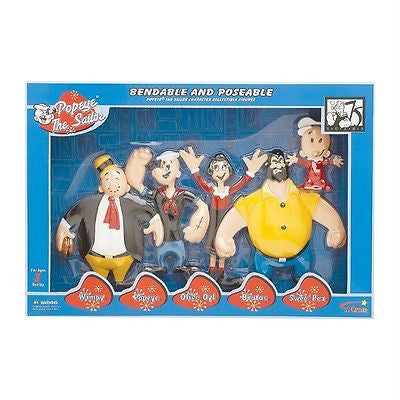 Set of 5 Popeye Box Action Figures TV Cartoon Bendable Toys Gift Boxed