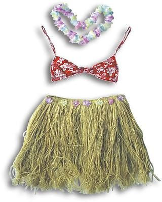 Hawaiian Hula Dance Costume * Assorted Sizes * Natural Grass Skirt Hawaii Dress Up
