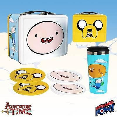 New Adventure Time Finn Jake Tin Tote Gift Set Carry-All Toy TV Cartoon Network Dog Animal
