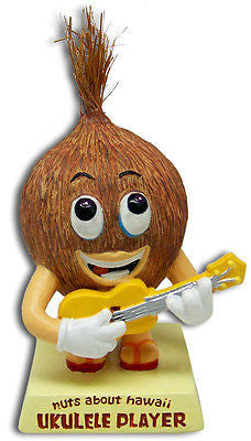 New Coconut Ukulele Player Dashboard Doll Bobblehead * Nuts About Hawaii * Car