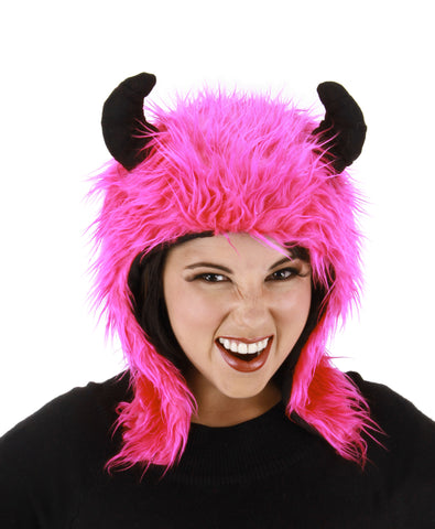 Hot Pink Minotaur Hoodie Costume with Black Horns Magenta Plush Animal Mythical Creature Hat Accessory by Elope