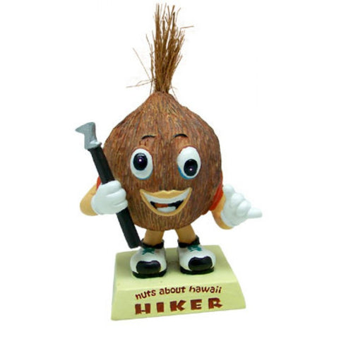New Coconut Hiker Dashboard Doll Bobblehead Hiking Hike Hawaii Car Dash Boat RV