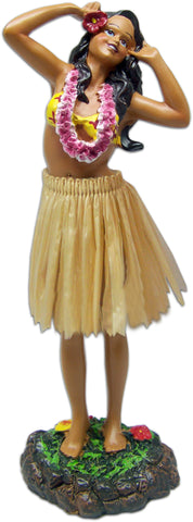 Hula Girl Dashboard Doll Leilani Singing Pose Natural Skirt Hawaiian 7 Inch