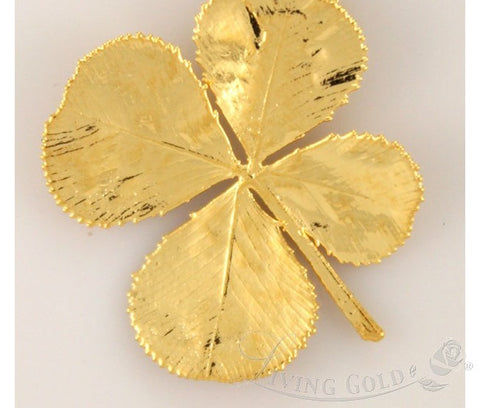 24K Gold Dipped Four Leaf Clover Pendant Natural Jewelry in a Gift Box