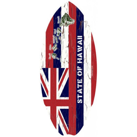Hawaiian State Flag Mini Surfboard Wooden Hawaii C-Ya Surf Beach Wood Sign