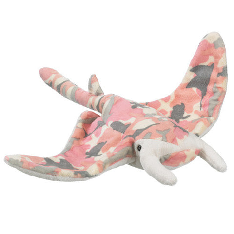 Manta Ray Pink Camo 16 Inch Plush Fish Stuffed Wild Toy Animal by Wildlife Artists