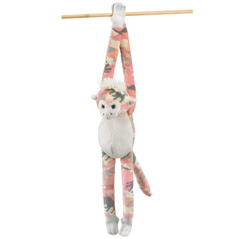 Hanging Monkey Pink Zoo Camo 15 Inch Plush Stuffed Toy Animal by Wildlife Artists