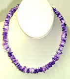 Chip Shell Necklace ** Colors: Brown White Blue or Purple