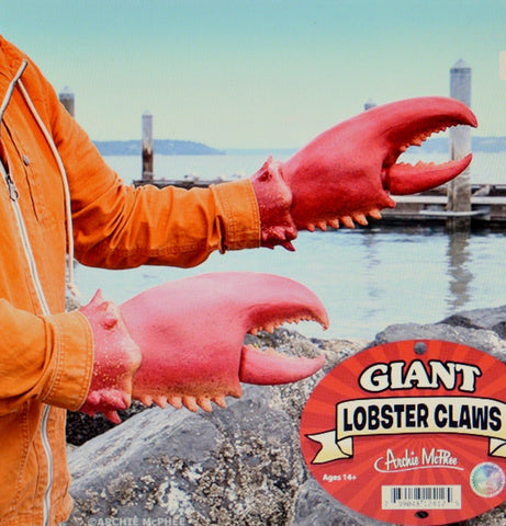 2 Red Lobster Claws Costume Party Latex Halloween Animal Fish Gloves Accessory Accessories by Archie McPhee Novelty Accoutrements