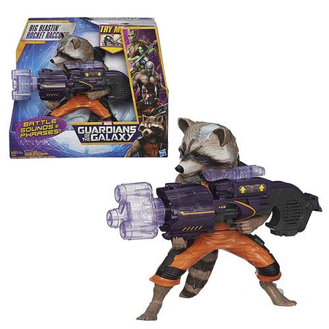 Hasbro Guardians of the Galaxy Big Blastin Rocket Raccoon Action Figure with Sound 9 inch Batteries Included Disney Toy Boys Gift