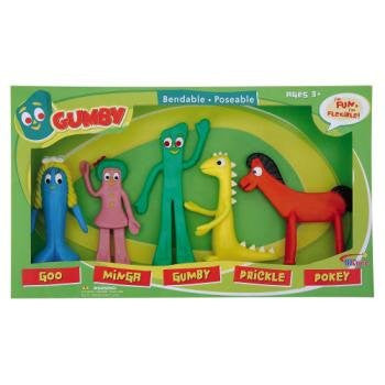 Set of 5 Gumby and Friends Bendable Toys Box Set by NJ Croce