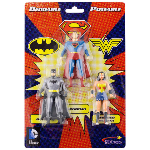 "3 Pc. Batman Superman Wonder Woman Bendable 3"" Toys Action Flexible Figures"