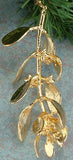 New 24K Gold Dipped * Real Mistletoe * Christmas Ornament or Door Decor