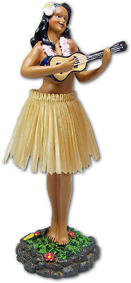 Hawaiian Dashboard Doll Hula Girl with Ukulele Natural Grass Skirt by KC Hawaii