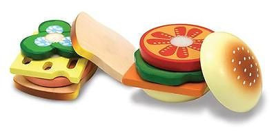 New Wood Sandwich Making Food Playset Melissa and Doug Toy Wooden Play Set Gift