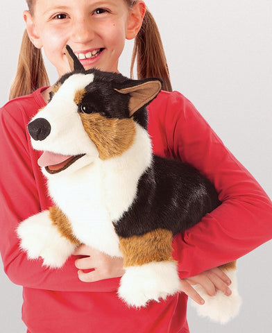 Corgi Dog Hand Puppet Plush Brown Black Stuffed Puppy Animal Folkmanis Gift