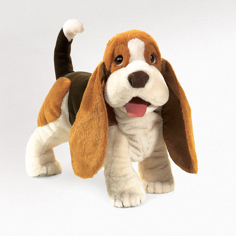 Basset Hound Hand Puppet Plush Dog Stuffed by Folkmanis Toy 16 Inch Puppy Animal
