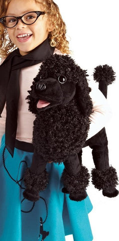 Poodle Dog Hand Puppet Plush Black Stuffed Puppy Animal Folkmanis Puppets