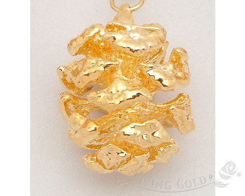 New 24K Gold Dipped * Real Redwood Pine Cone * Pendant Natural Pinecone Jewelry